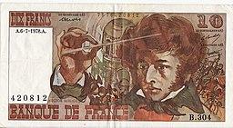 10 Francos franceses 1978 (anverso)