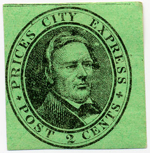 Cinderella stamp - A U.S. local stamp for Price's City Express, from about 1858. Local stamps are considered cinderella stamps.
