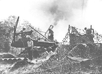BL 12-inch railway howitzer - Mk V in action at Soissons, France, 19 May 1918