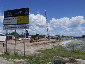 Redcliffe Peninsula railway line - Kippa Ring Station under construction, project sign