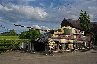 Malmedy massacre - A preserved Tiger II tank left by the Kampfgruppe Peiper at La Gleize in December 1944