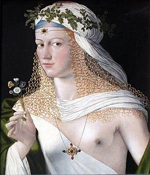 Bartolomeo Veneto - Image: 1520 Veneto Idealbildnis einer Kurtisane als Flora anagoria