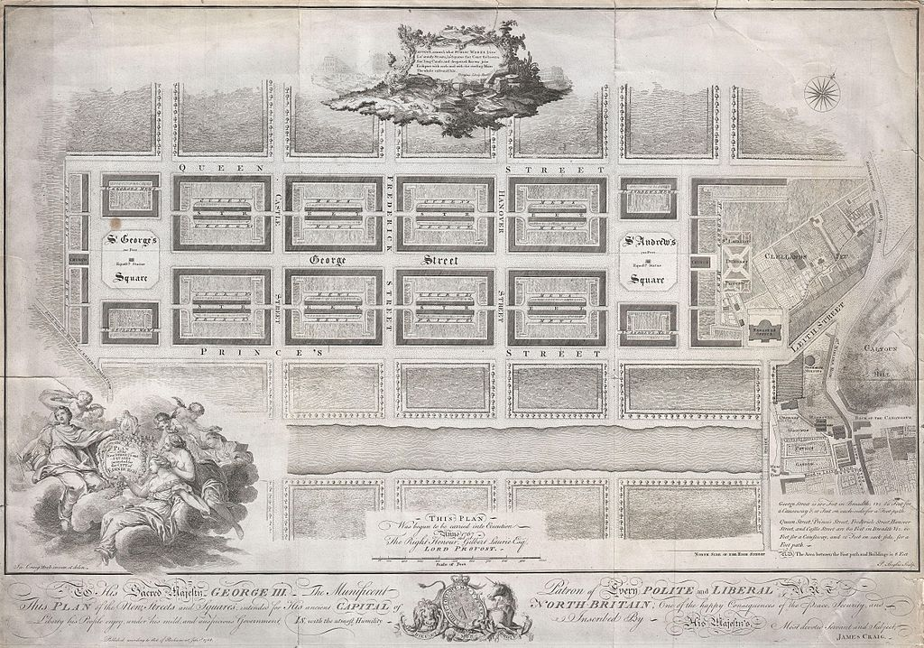 Carte du quartier de New Town à Edimbourg imaginé par James Craig en 1768.