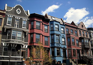 Queen Anne style architecture in the United States - Queen Anne-style rowhouses located in the Adams Morgan neighborhood of Washington, D.C.