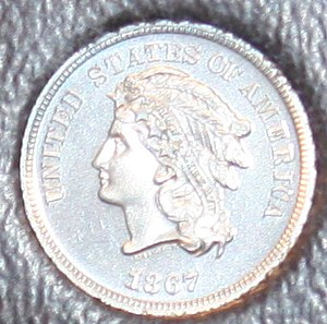 Shield nickel - Image: 1867 Indian nickel pattern