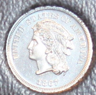 "Shield nickel - 1867 ""Indian Head"" pattern"