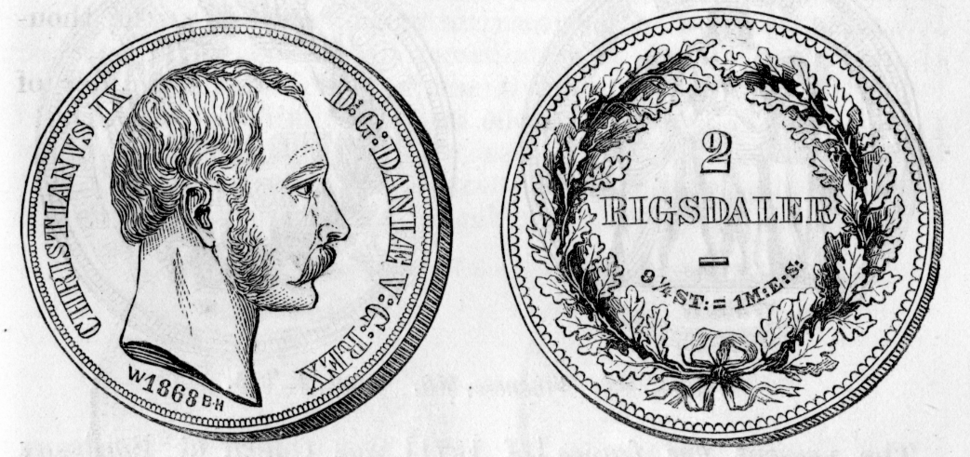 1868 Danish 2 rigsdaler both