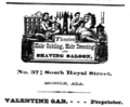 1875 Theatre hairdresser advert Royal Street in Mobile Alabama.png