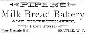 A. W. Piper - Advertisement for Piper's bakery, 1885