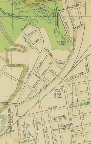 Cedar Hill (New Haven) - Map of the missing streets from the construction of I-95 in the 1950s; also note the Cedar Hill Depot for the trolleys now housing the CT Transit