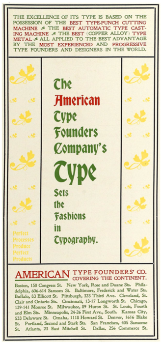 American Type Founders - 1896 advertisement in Will H. Bradley's magazine, Bradley, His Book