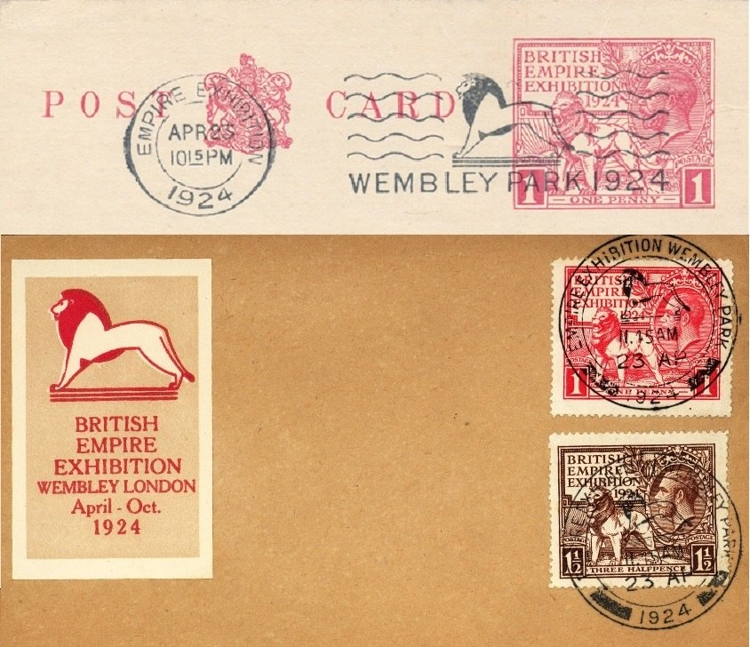 1924 British Empire Exhibition special postmark and slogan postmark