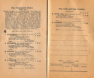 Chelmsford Stakes - Image: 1926 Randwick Tatts Chelmsford Stakes Racebook P2