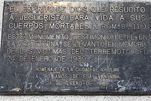 1939 Chillán earthquake - Image: 1939 Chile Earthquake Memorial Placard