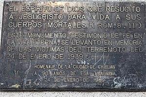 1939 Chillán earthquake - Image: 1939 Chile Earthquake Memorial Placard