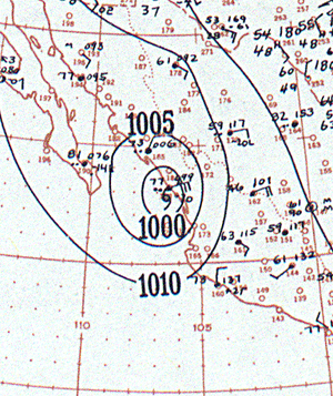 1943 Mazatlán hurricane - Image: 1943 Mazatlán hurricane analysis 9 Oct 1943