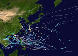 1964 Pacific typhoon season - Image: 1964 Pacific typhoon season summary map