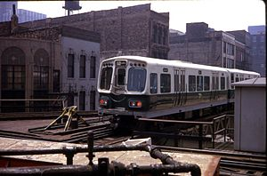 "Chicago ""L"" rolling stock - 2000-series cars on Lake St. leaving the loop at Wells St."