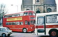 1973 Midland Red double deck bus and North Western coach, Banbury.jpg