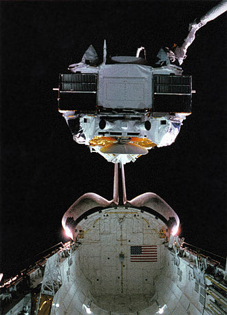 Compton Gamma Ray Observatory - Compton Gamma Ray Observatory being deployed from Space Shuttle Atlantis in 1991 in Earth orbit