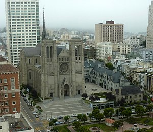 Grace Cathedral, San Francisco - Cathedral and adjacent (right) headquarters of the Episcopal Diocese of California