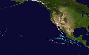 Map plotting the track and intensity of all Central and Eastern Pacific tropical cyclones during 2010 according to the Saffir–Simpson hurricane wind scale