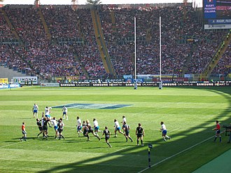 Italy national rugby union team - Italy contesting a lineout with Scotland during the 2012 Six Nations