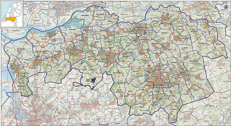 North Brabant, since 2001 Brabant is also officially correct,[1] is a province of the Netherlands, located in the south of the country, bordered by Belgium's Antwerp and Limburg provinces in the south, the Meuse River (Maas) in the north, and Limburg in the east and Zeeland in the west.