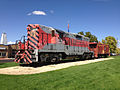 2014-09-26 13 48 31 Western Pacific engine and caboose at Railroad Park in Elko, Nevada.JPG
