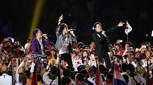 JYJ at the 2014 Asian Games opening ceremony. From left to right: Junsu, Jaejoong, and Yoochun (former).