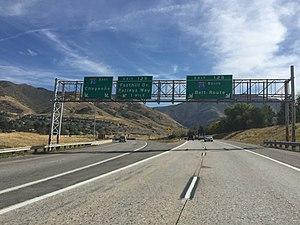 Interstate 215 (Utah) - The terminus of I-215 at I-80, to the east of Salt Lake City.