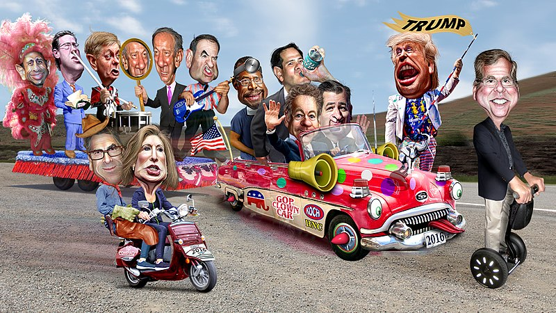 File:2016 Republican Clown Car Parade - Trump Exta Special Edition (18739683269).jpg