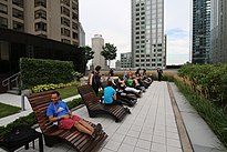2017-08-10 Wikimania, Wikimedians outside on 6th floor (freddy2001).jpg