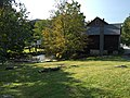 2017-09-10 16 25 29 View west-northwest across the lawn between the old mill, Old Mill Road and the Fayville Branch of Warm Brook in the East Arlington section of Arlington, Bennington County, Vermont.jpg