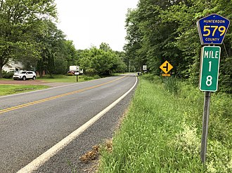 County Route 579 (New Jersey) - CR 579 northbound at milepost 18 in Hunterdon County