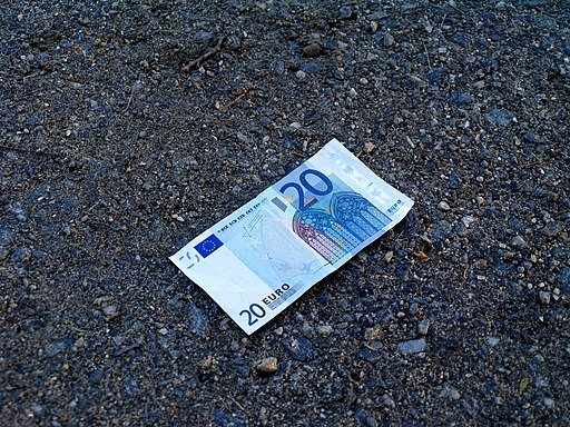 20 euro banknote on ground