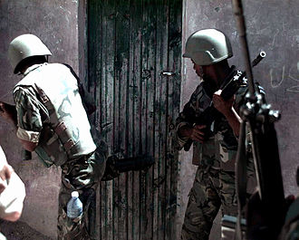 United Nations Security Council Resolution 794 - Two Botswanan soldiers conducting raids as part of UNITAF