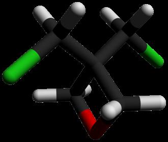 3,3-Bis(chloromethyl)oxetane - Image: 3,3 Bis(chloromethyl)oxe tane 3D sticks by AHRLS 2012