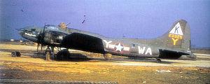 "RAF Kimbolton - Douglas-Long Beach B-17F-45-DL Fortress AAF Ser. No. 42-3325 524th BS, ""Paddy Gremlin""."