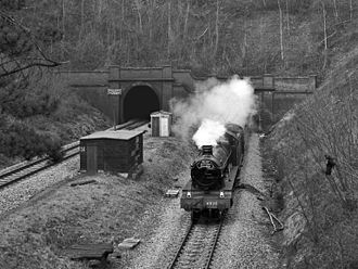GWR 4900 Class 4930 Hagley Hall - Emerging from Dinmore Tunnel on the Welsh Marches Line in 1983.