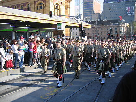 Members of the Army Reserve 5th/6th Battalion, Royal Victoria Regiment marching through Melbourne on Anzac day 2006 5-6 RVR ANZAC Day 2008.JPG