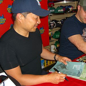 Batman: Hush - Artist Jim Lee signing copies of the two-part softcover collected edition at Midtown Comics in Manhattan.