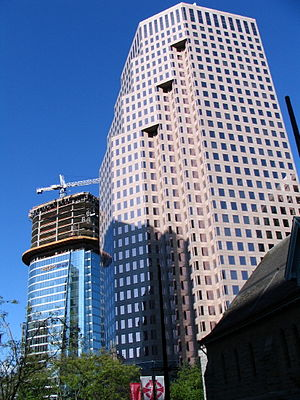 Burrard Street - Vancouver Financial District, with '666 Burrard Street' landmark skyscraper (foreground) and the Bentall 5 tower (left), circa 2006.
