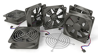Computer fan - A 3D illustration of six 80 mm fans, a type of fan commonly used in personal computers (sometimes as a set, or mixed with other fan sizes).