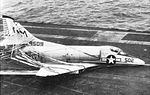 A-4C Skyhawk of VA-192 after barrier landing on USS Bon Homme Richard (CVA-31) c1965.jpg