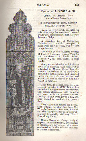 A. L. Moore - Advertisement from the Illustrated Guide to the Church Congress 1897