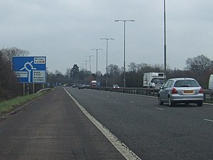 A308(M) motorway - Looking towards the A308(M) terminus with the A308 and A330.