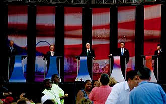 Democratic Party presidential debates and forums, 2008 - (from left to right) Biden, Clinton, Dodd, Edwards and Kucinich during the AFL-CIO Working Families Vote Presidential Forum (Obama and Richardson, who were to the left of Biden, are not pictured)