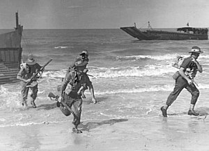 2/28th Battalion (Australia) - 2/28th Battalion personnel exercise at Palm Beach, August 1944