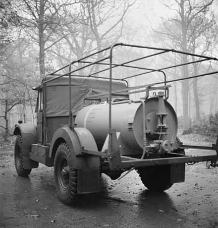 The British stockpiled chemical weapons to use in case of a German invasion. Pictured is a chemical warfare bulk decontamination vehicle. A BCV (Bulk Contamination Vehicle.jpg